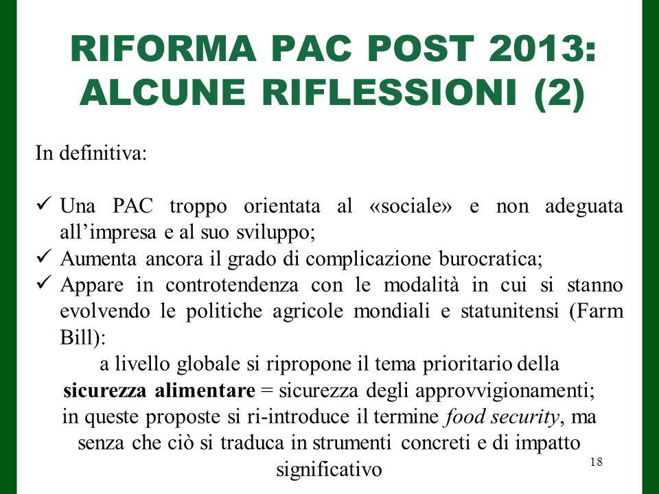 RIFORMA PAC POST 2013: ALCUNE RIFLESSIONI (2)