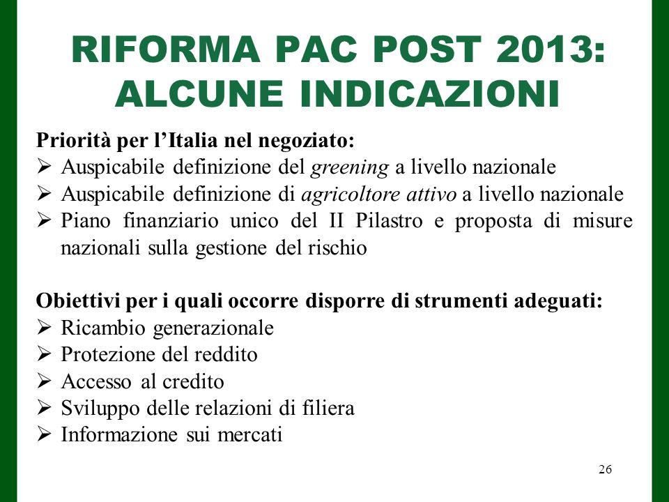 RIFORMA PAC POST 2013: ALCUNE INDICAZIONI