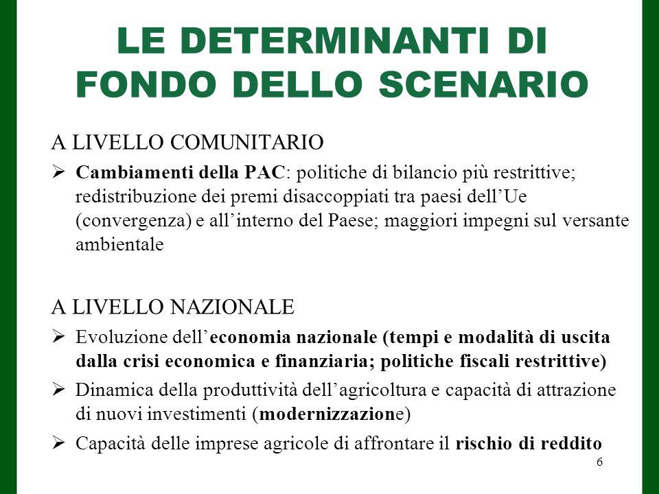 LE DETERMINANTI DI FONDO DELLO SCENARIO