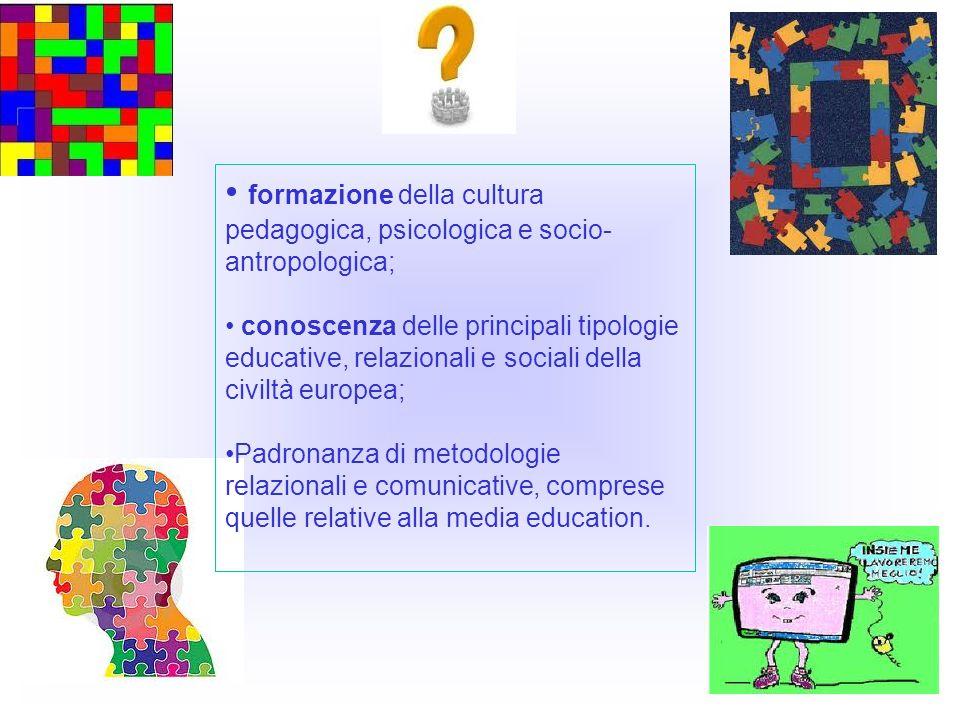 formazione della cultura pedagogica, psicologica e socio-antropologica;