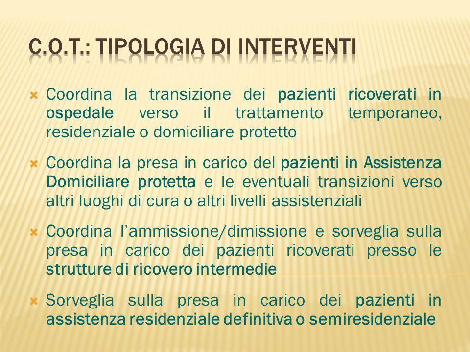 C.O.T.: TIPOLOGIA DI INTERVENTI