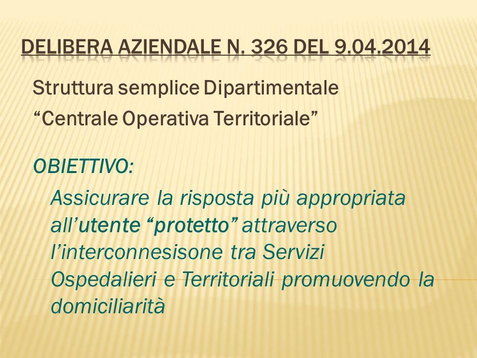 DELIBERA AZIENDALE N. 326 del 9.04.2014