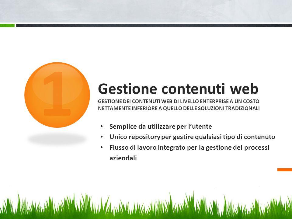 1 Gestione contenuti web Gestione dei contenuti web di livello enterprise a un costo nettamente inferiore a quello delle soluzioni tradizionali.