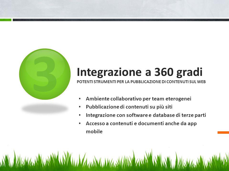 3 Integrazione a 360 gradi Potenti strumenti per la pubblicazione di contenuti sul Web. Ambiente collaborativo per team eterogenei.