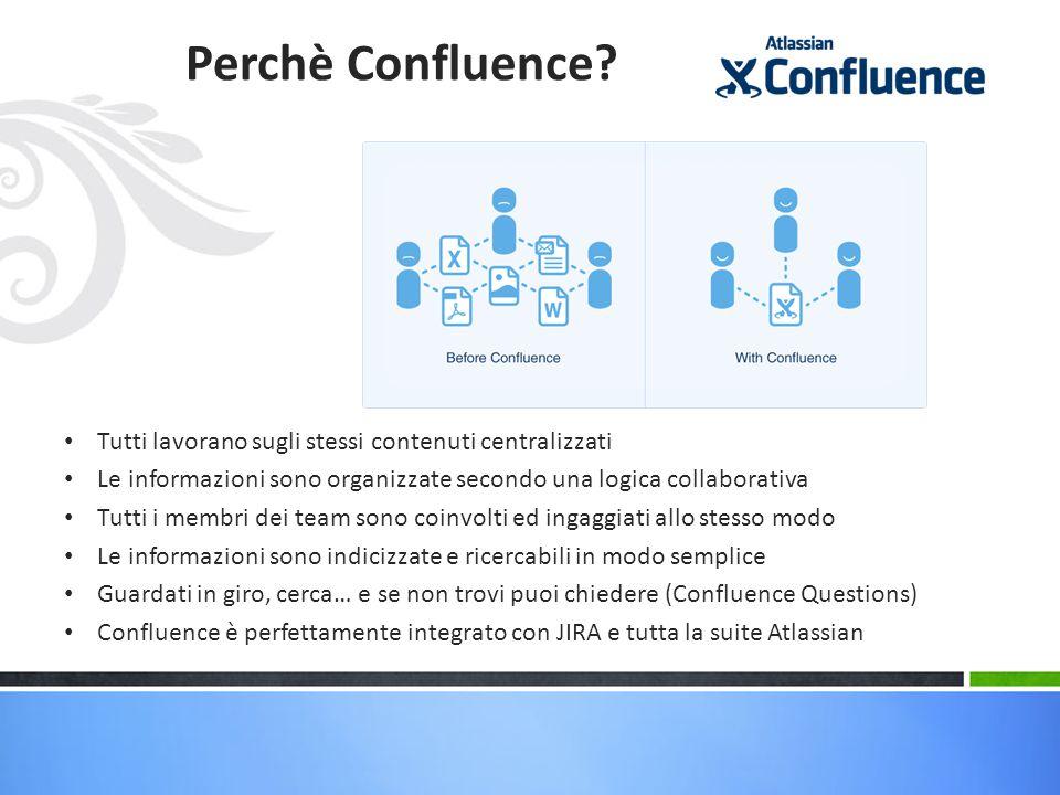 Perchè Confluence Tutti lavorano sugli stessi contenuti centralizzati
