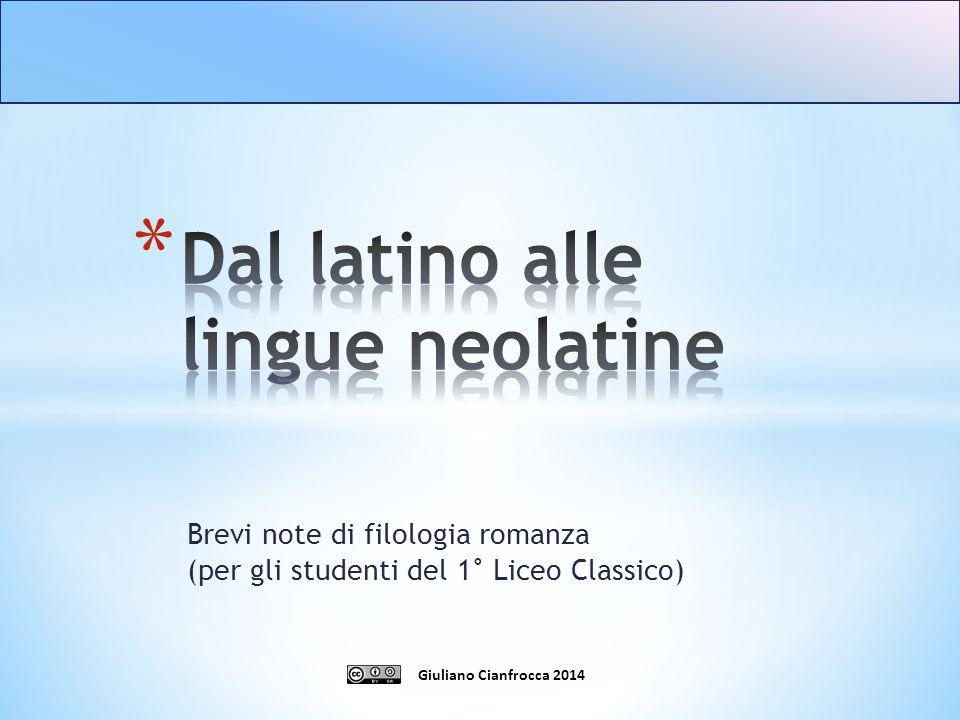 Dal latino alle lingue neolatine