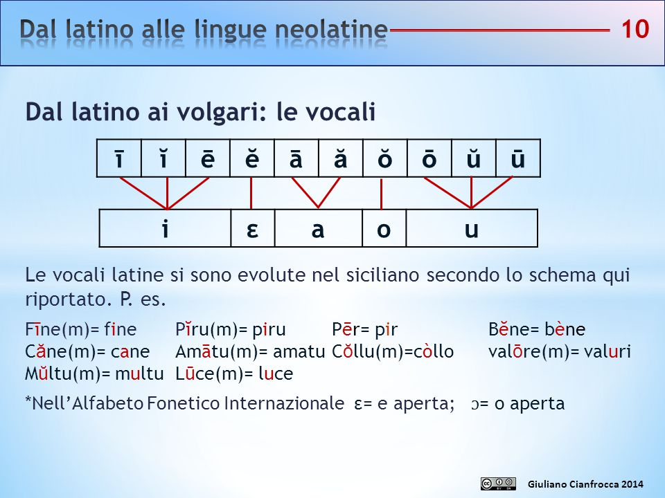 Dal latino alle lingue neolatine 10