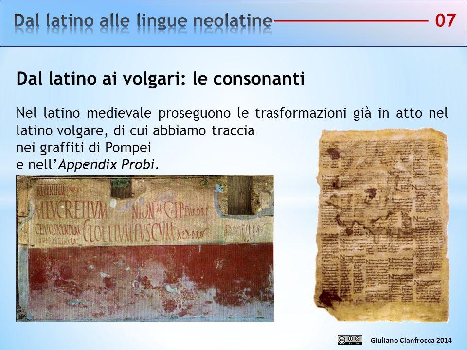 Dal latino alle lingue neolatine 07