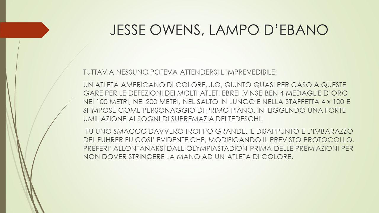 JESSE OWENS, LAMPO D'EBANO