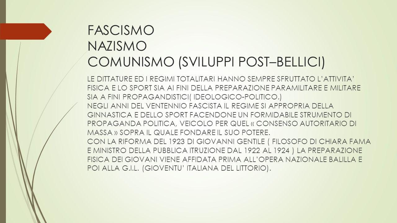 FASCISMO NAZISMO COMUNISMO (SVILUPPI POST–BELLICI)