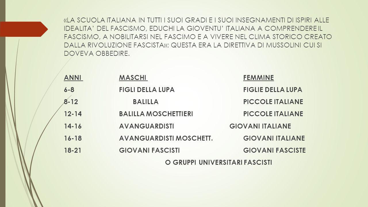«LA SCUOLA ITALIANA IN TUTTI I SUOI GRADI E I SUOI INSEGNAMENTI DI ISPIRI ALLE IDEALITA' DEL FASCISMO, EDUCHI LA GIOVENTU' ITALIANA A COMPRENDERE IL FASCISMO, A NOBILITARSI NEL FASCIMO E A VIVERE NEL CLIMA STORICO CREATO DALLA RIVOLUZIONE FASCISTA»: QUESTA ERA LA DIRETTIVA DI MUSSOLINI CUI SI DOVEVA OBBEDIRE.
