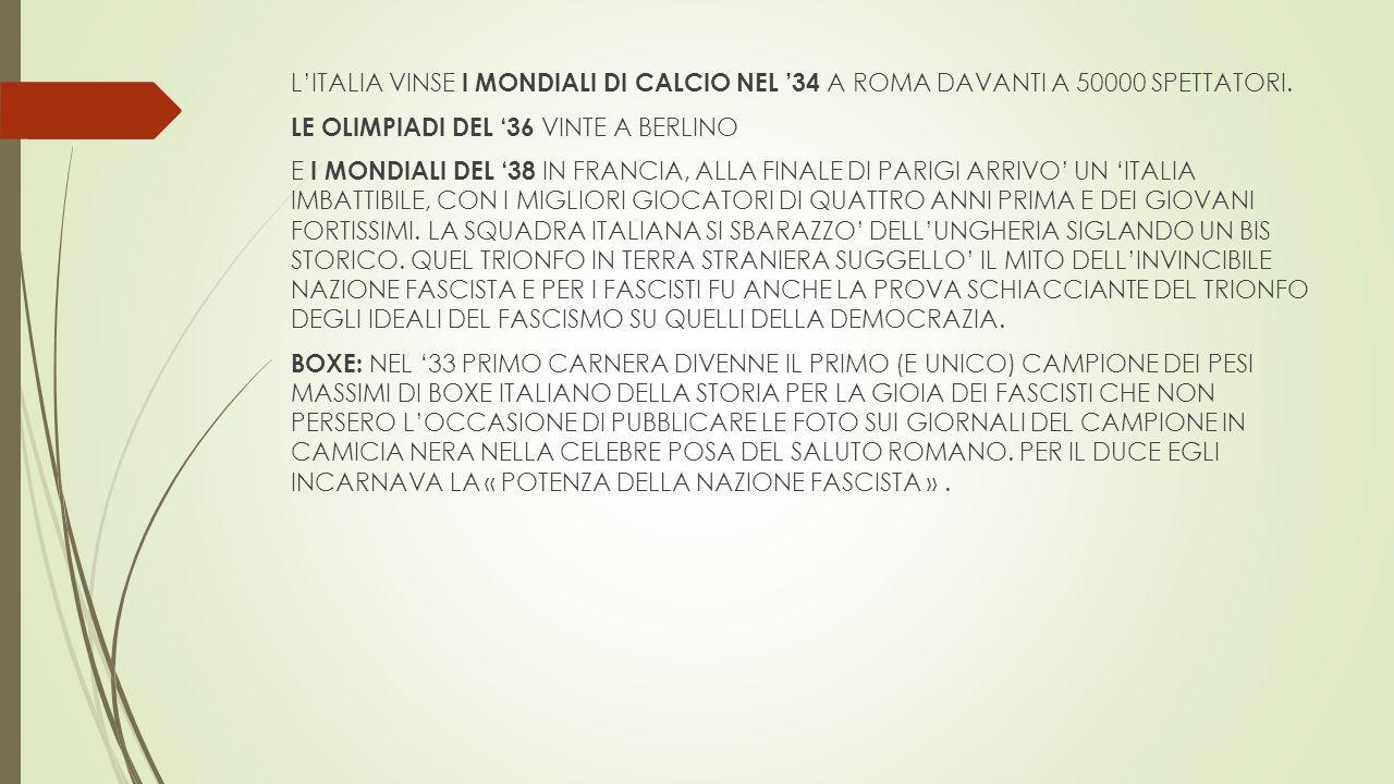 L'ITALIA VINSE I MONDIALI DI CALCIO NEL '34 A ROMA DAVANTI A 50000 SPETTATORI.