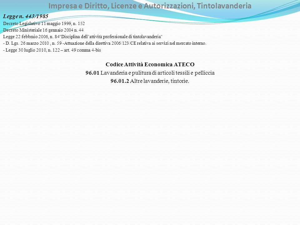 Impresa e Diritto, Licenze e Autorizzazioni, Tintolavanderia