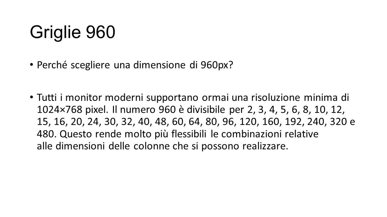 Griglie 960 Perché scegliere una dimensione di 960px