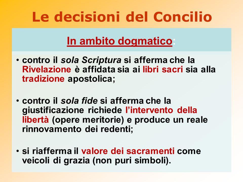 Le decisioni del Concilio