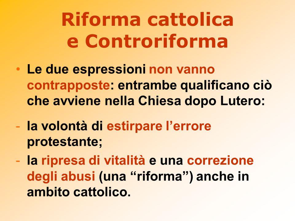 Riforma cattolica e Controriforma