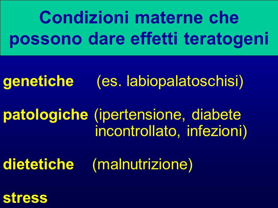 Condizioni materne che possono dare effetti teratogeni