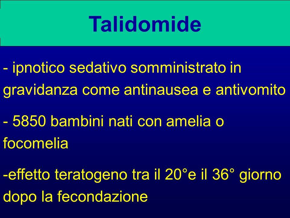 Talidomide - ipnotico sedativo somministrato in gravidanza come antinausea e antivomito. - 5850 bambini nati con amelia o focomelia.