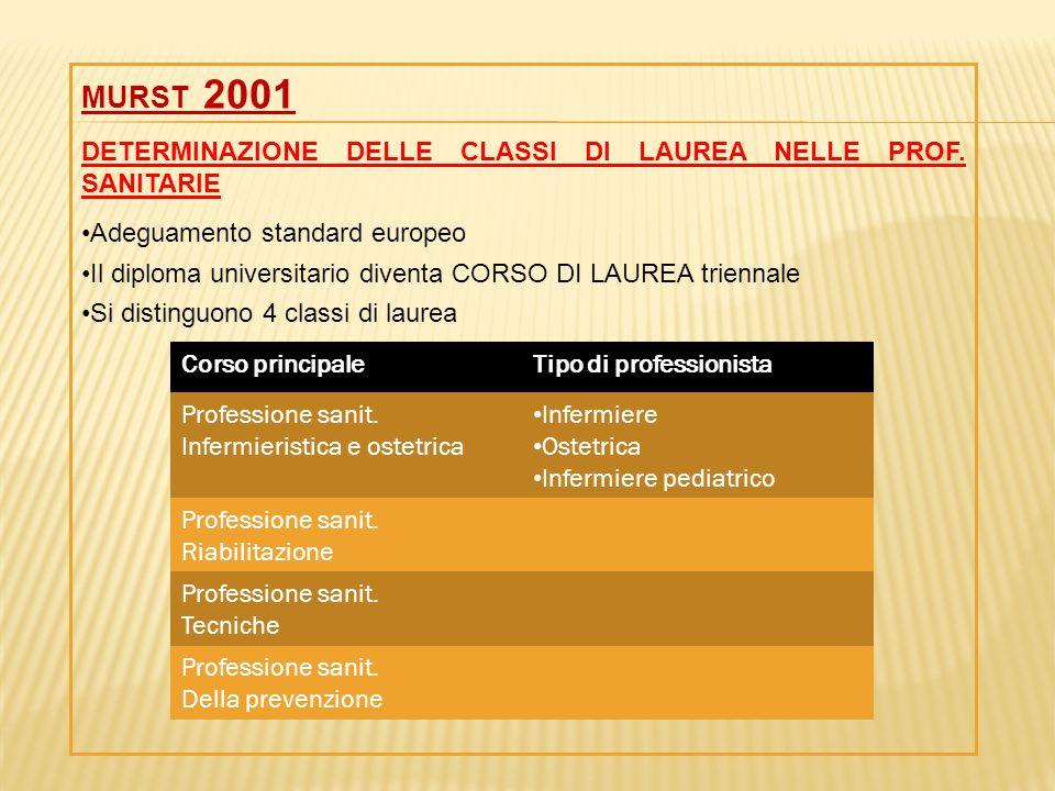 MURST 2001 DETERMINAZIONE DELLE CLASSI DI LAUREA NELLE PROF. SANITARIE