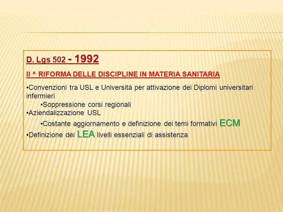 D. Lgs 502 - 1992 II ^ RIFORMA DELLE DISCIPLINE IN MATERIA SANITARIA