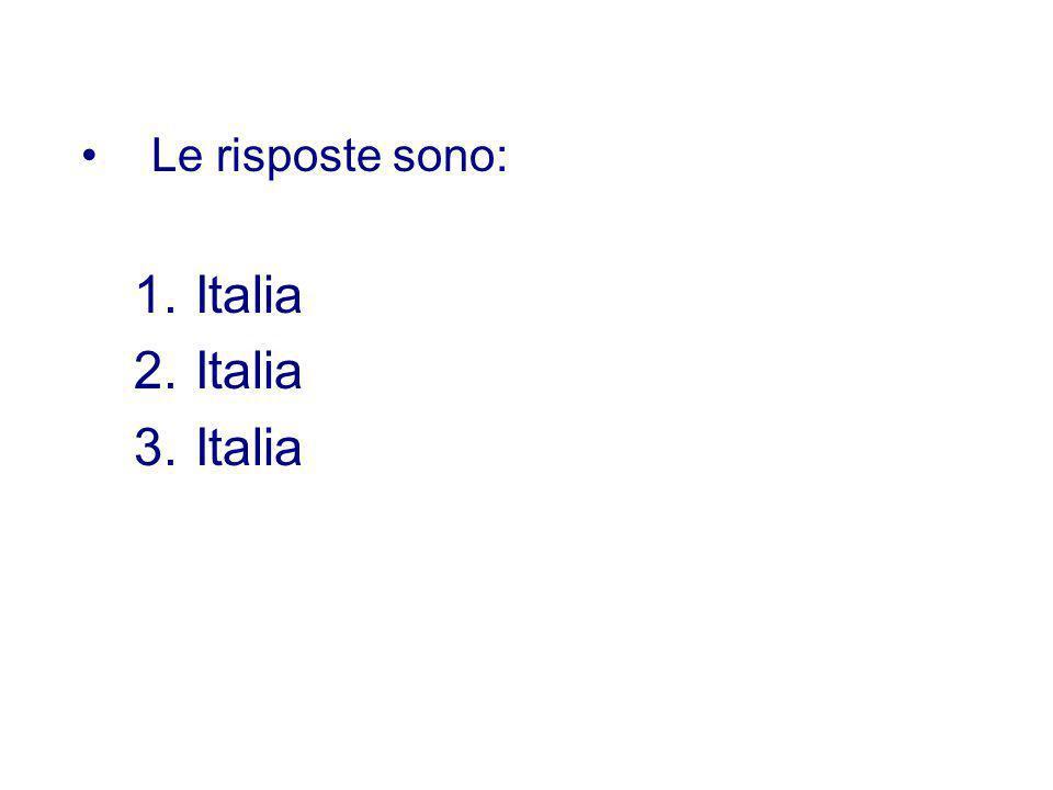 Le risposte sono: Italia