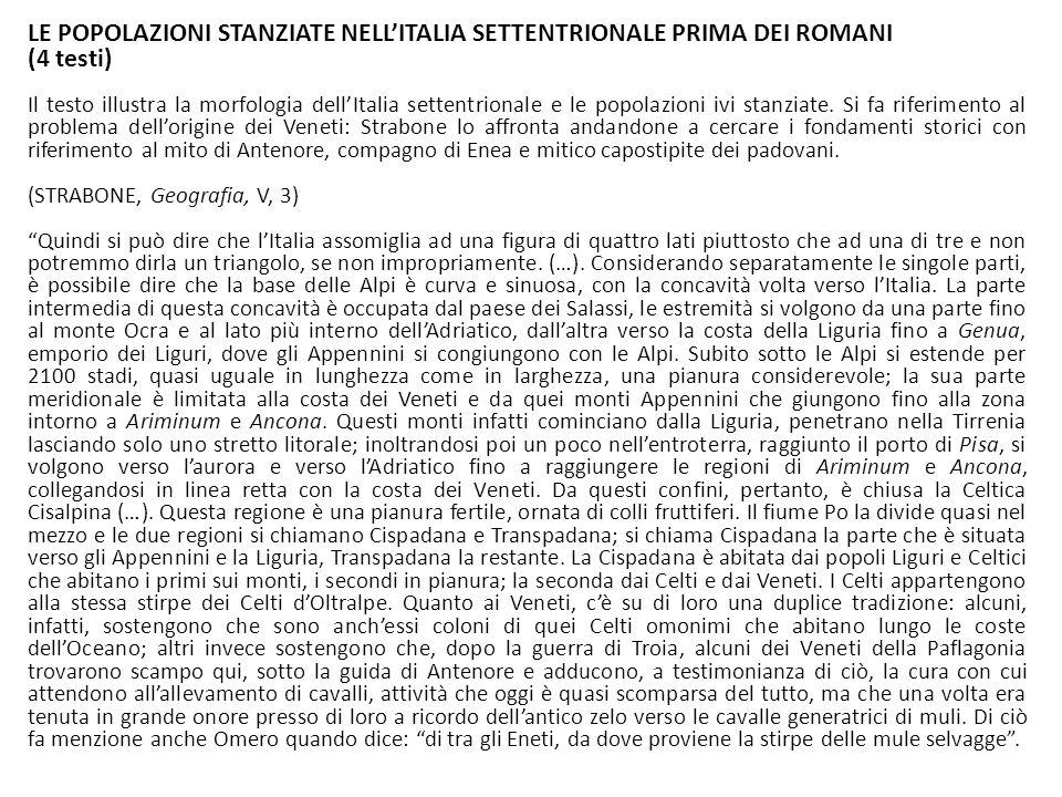LE POPOLAZIONI STANZIATE NELL'ITALIA SETTENTRIONALE PRIMA DEI ROMANI