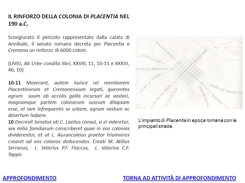 IL RINFORZO DELLA COLONIA DI PLACENTIA NEL 190 a.C.
