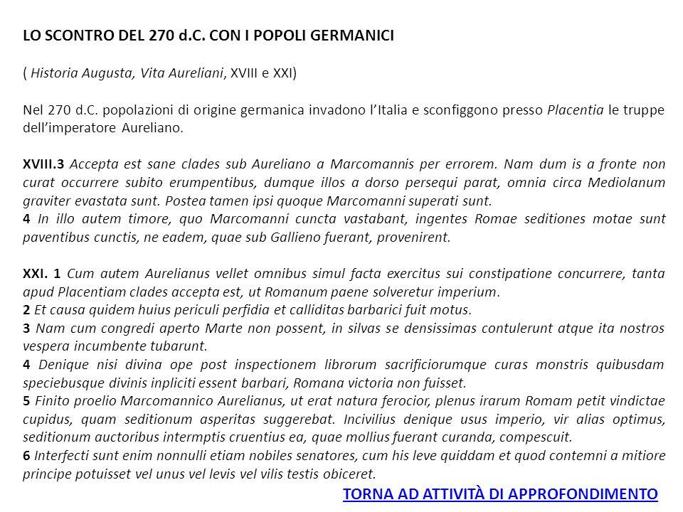 LO SCONTRO DEL 270 d.C. CON I POPOLI GERMANICI