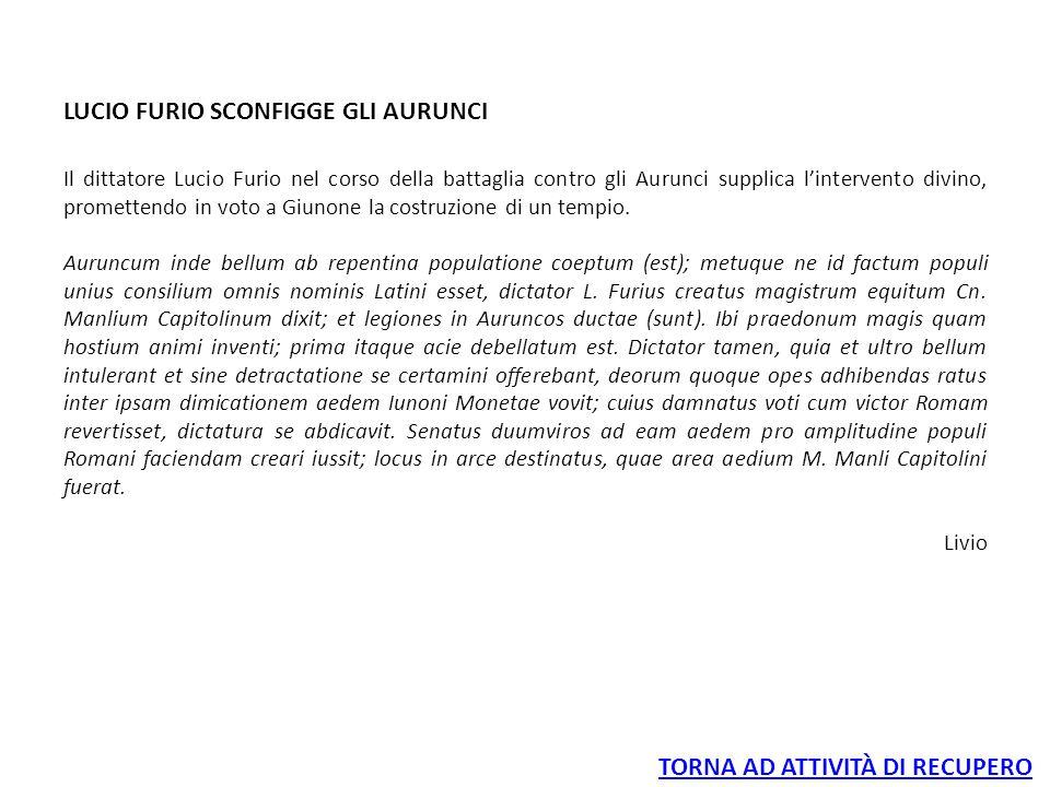 LUCIO FURIO SCONFIGGE GLI AURUNCI