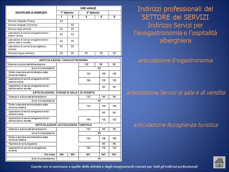 Indirizzi professionali del SETTORE dei SERVIZI Indirizzo Servizi per l'enogastronomia e l'ospitalità alberghiera