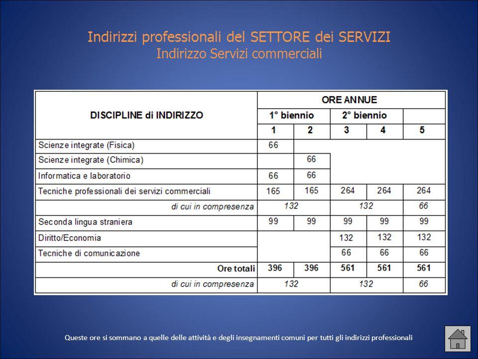 Indirizzi professionali del SETTORE dei SERVIZI Indirizzo Servizi commerciali