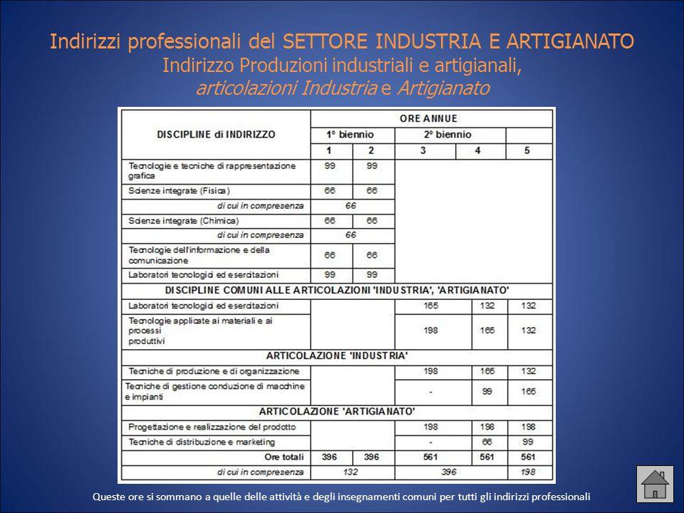 Indirizzi professionali del SETTORE INDUSTRIA E ARTIGIANATO Indirizzo Produzioni industriali e artigianali, articolazioni Industria e Artigianato