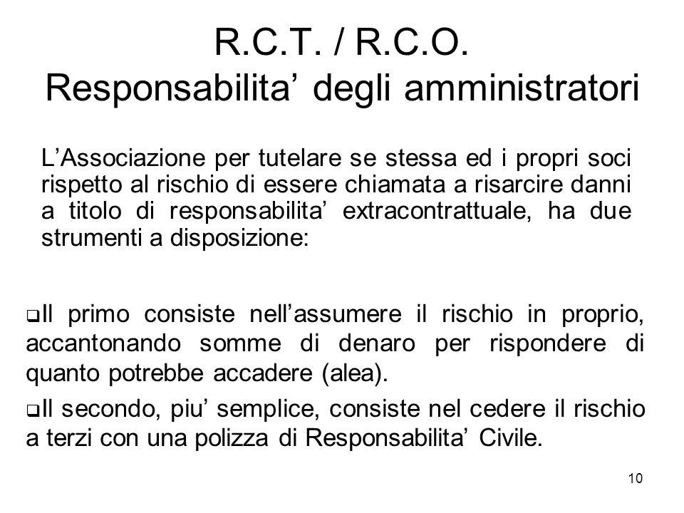 R.C.T. / R.C.O. Responsabilita' degli amministratori