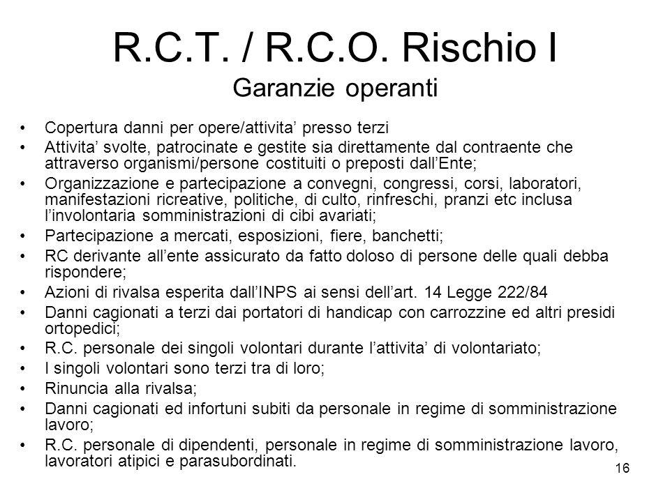 R.C.T. / R.C.O. Rischio I Garanzie operanti