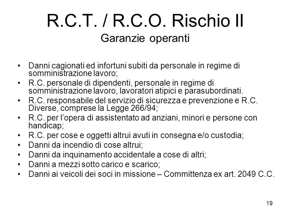 R.C.T. / R.C.O. Rischio II Garanzie operanti