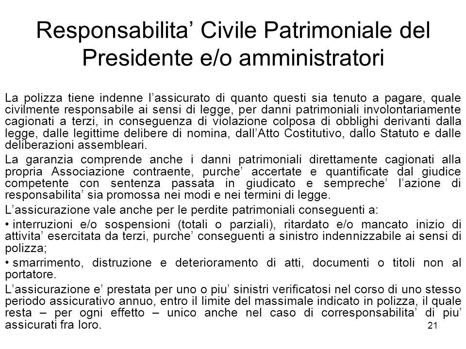 Responsabilita' Civile Patrimoniale del Presidente e/o amministratori