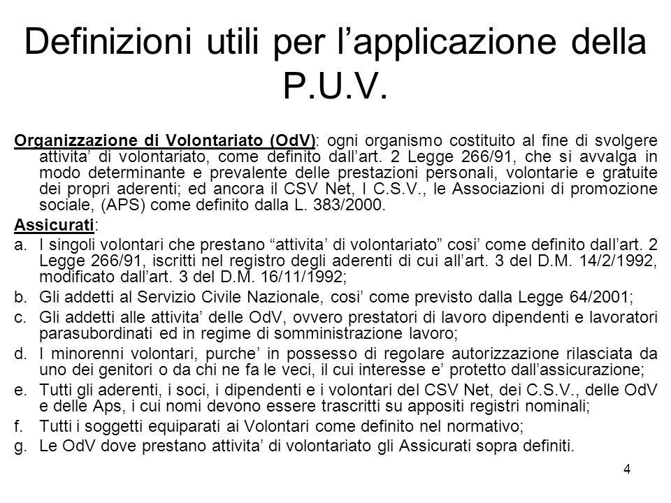 Definizioni utili per l'applicazione della P.U.V.