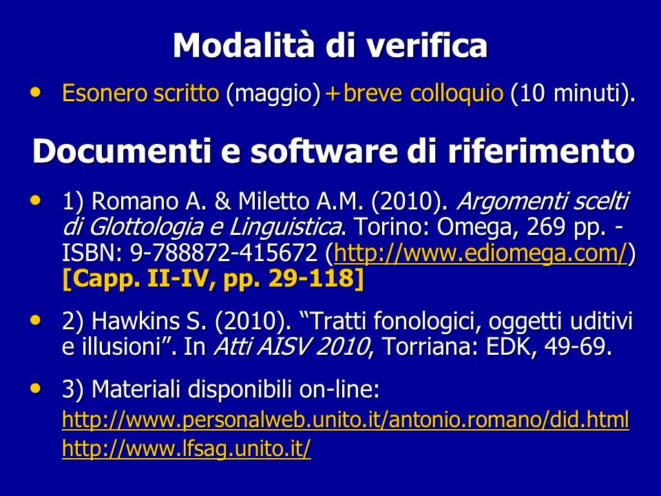 Documenti e software di riferimento
