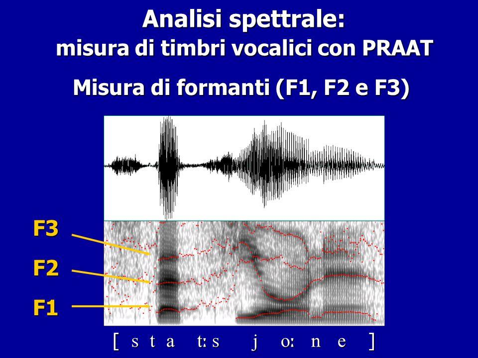 Analisi spettrale: misura di timbri vocalici con PRAAT