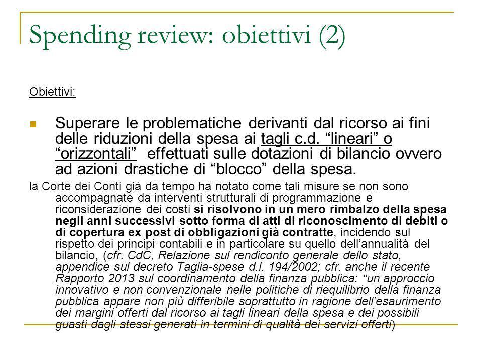 Spending review: obiettivi (2)