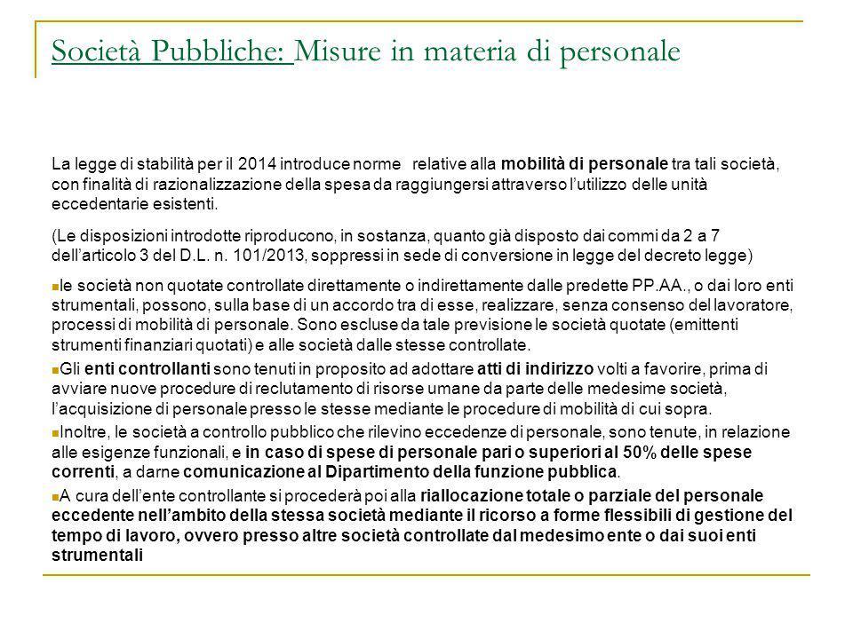 Società Pubbliche: Misure in materia di personale