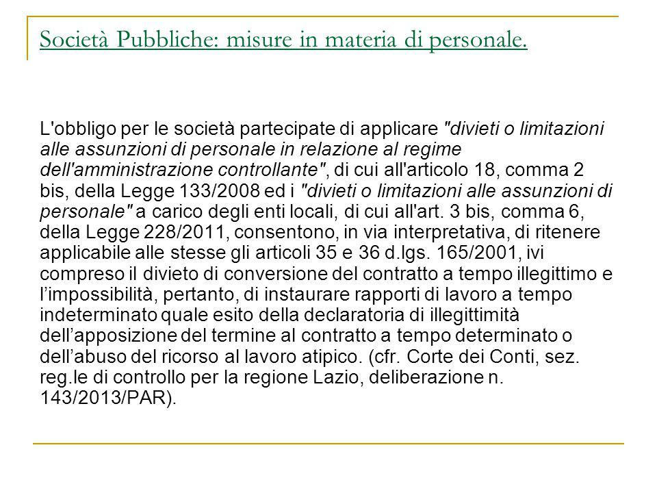 Società Pubbliche: misure in materia di personale.