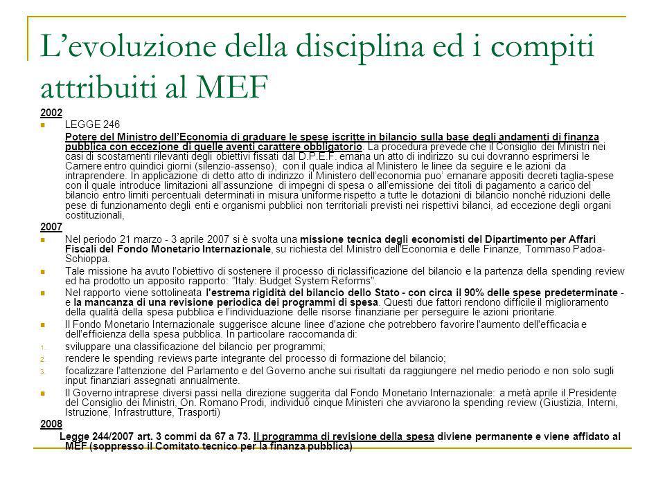 L'evoluzione della disciplina ed i compiti attribuiti al MEF