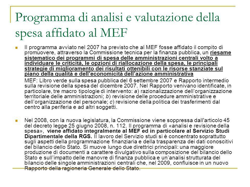 Programma di analisi e valutazione della spesa affidato al MEF