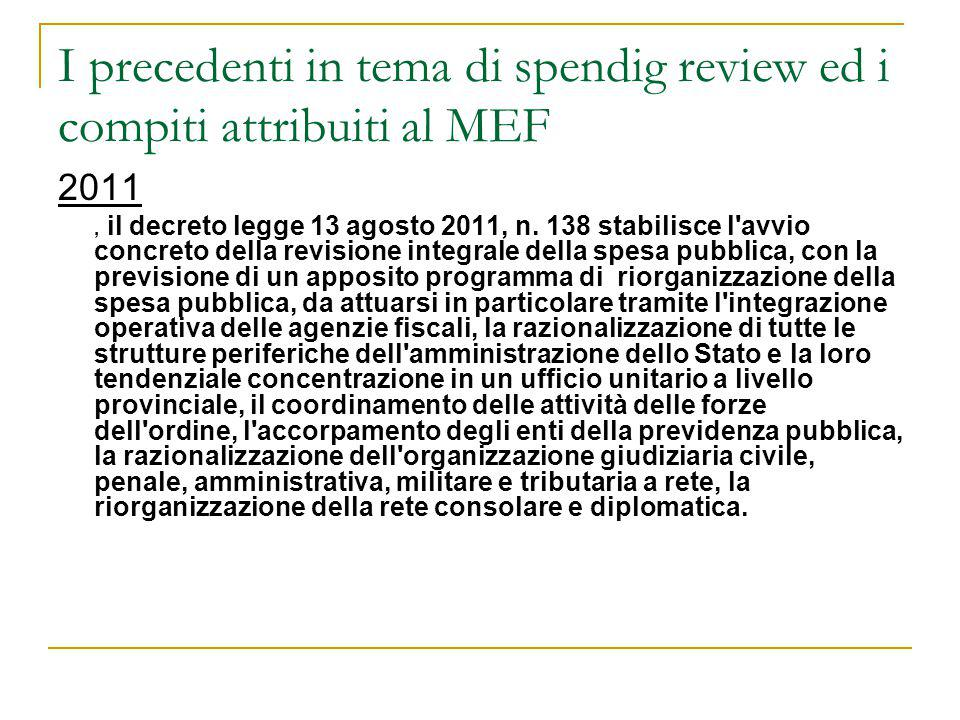 I precedenti in tema di spendig review ed i compiti attribuiti al MEF
