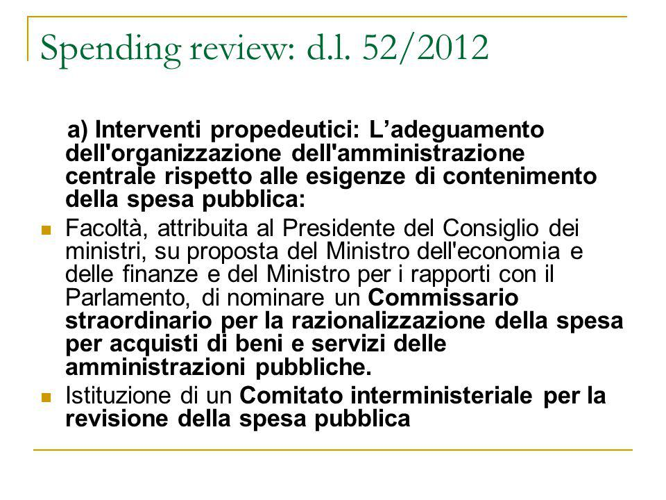 Spending review: d.l. 52/2012