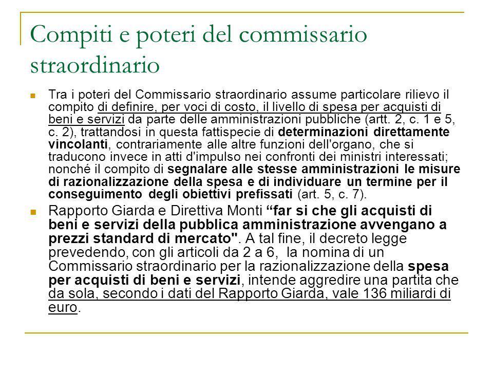 Compiti e poteri del commissario straordinario
