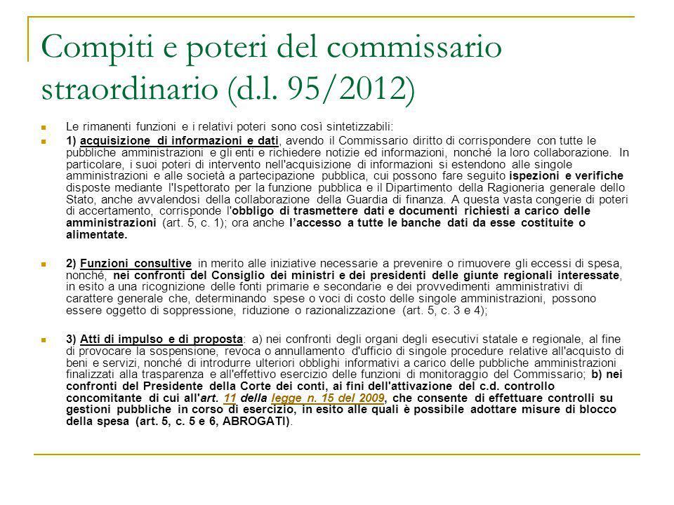 Compiti e poteri del commissario straordinario (d.l. 95/2012)