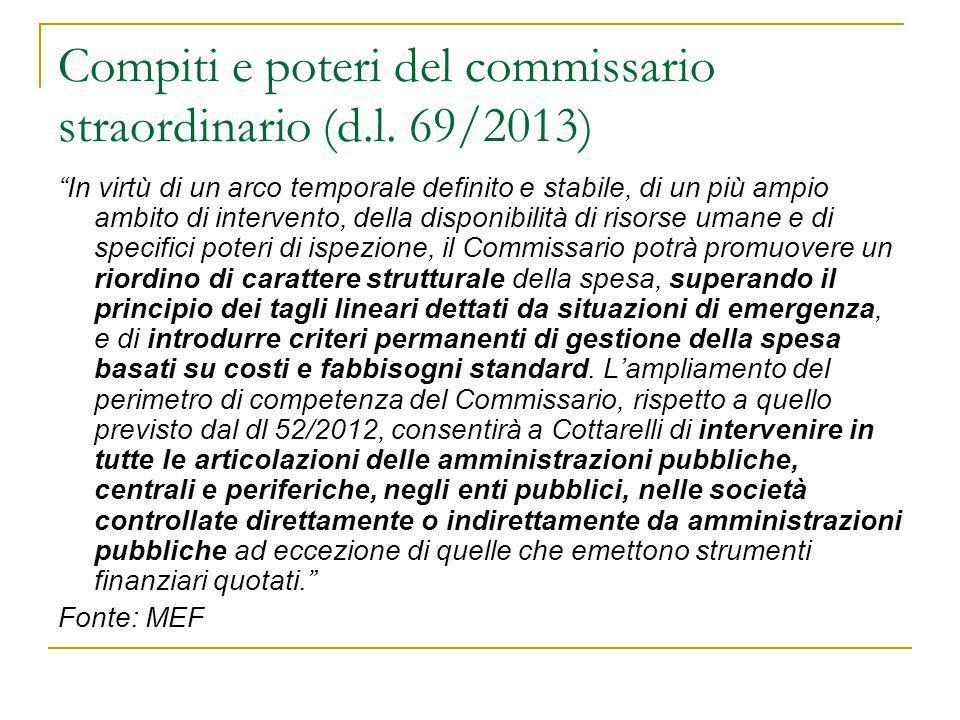 Compiti e poteri del commissario straordinario (d.l. 69/2013)