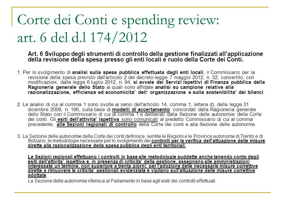 Corte dei Conti e spending review: art. 6 del d.l 174/2012